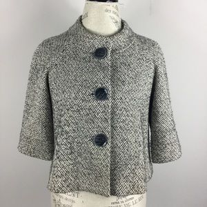 Lafayette 148 cropped tweed 3/4 sleeve blazer